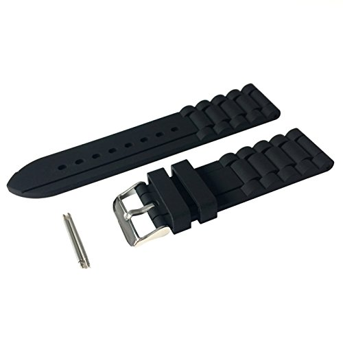 (24mm Men's Black Silicone Rubber Watch Straps Bands Waterproof for Fossil Watch Replacement)