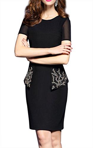 文字所属津波RUIYA SENSE 上品 半袖 ビーズ スリム ワンピース 大きいサイズあり 結婚式  二次会 ドレス ワンピースT0202 (L)