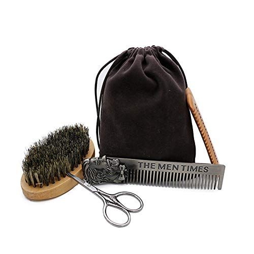 Premium Beard Care Grooming Trimming Kit for Men,4 in 1, Natural Boar Bristle Beard Brush& Dual Sided wooden Beard Comb,Stainless Steel Comb &Scissors For Shaping & Styling, Ideal Present For Men (1 Comb 4in Grooming)
