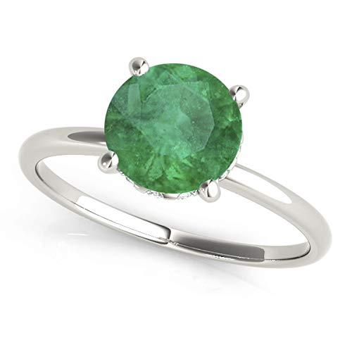 Emerald and Diamond Solitaire Engagement Ring Palladium (1.07ct)