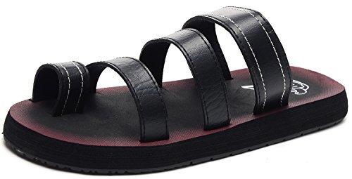 Odema Mens Leather Flip Flops Slip on Slippers Summer Sandals Shoes Black 0IwaQdK