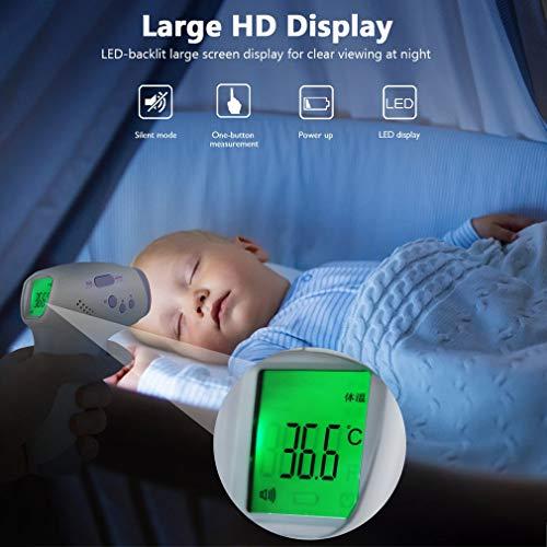 FlowerDas Termómetro Frontal de Bebe Niños, lecturas precisas instantáneas, termómetro Digital infrarrojo sin Contacto Profesional, para bebés, niños, Adultos 9