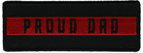 Dad Patch - Proud Dad Thin Red Line Love Honor 1.5 x 4 inch Patch IVANP5156