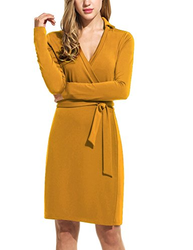 UNibelle Midi Dress Solid Self-tie Surplice Wrap Dresses (Dark Yellow,Large) ()