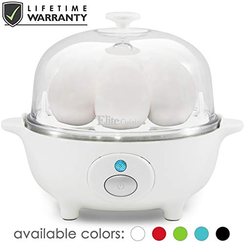 (Elite Cuisine EGC-007 Easy Electric Egg Poacher, Omelet, Scrambled, Soft, Medium, Hard-Boiled Boiler Cooker with Auto Shut-Off and Buzzer, Measuring Cup Included, BPA Free, 7 Capacity, White )