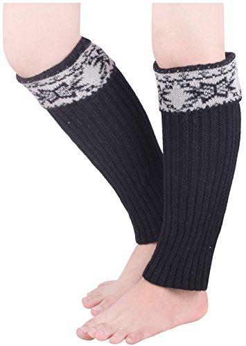 Leg Warmers for Boots Womens Black Boot Socks Girls Winter Warm Knit Sock Cuffs