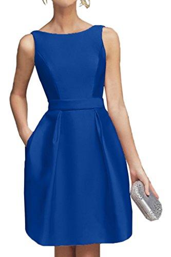 Braut Royal Partykleider Satin Abendkleider Blau Gruen Hundkragen Kurz La Cocktailkleider Lemon Marie Mini RqPSFxw56