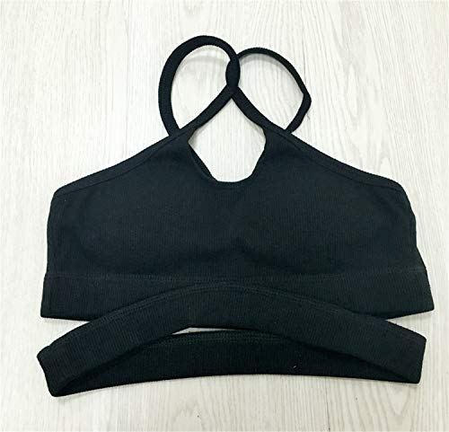 D'entraînement Vêtements Fil Rembourré De Sans Support Pour Femme Yoga Course Dos Sport Bras Moyen Bianjesus Croisé gorge Black Soutien agq1T1