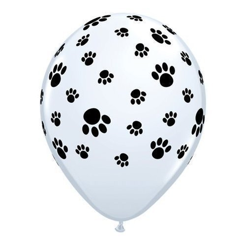 12 White Balloons with Black Paw Prints - Woof!
