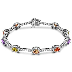 Rainbow Candy Tennis Bracelet Sterling Silver