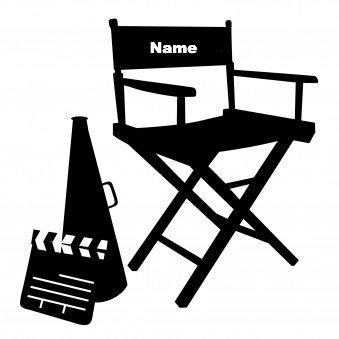 Sedia Da Regista Personalizzata.Sedia Regista Colore Personalizzato Con Il Tuo Nome Nero Vinile