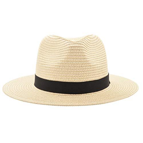Cap,Longay Unisex Beach Straw Hat Jazz Sunshade Panama Trilby Fedora Hat Gangster Cap (Beige)