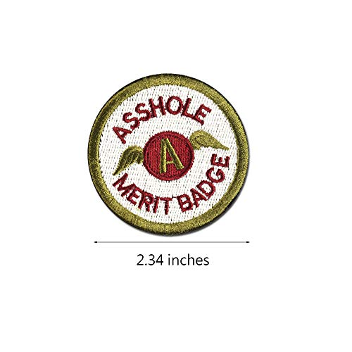 Asshole Merit Badge WZT Morale Patch, Funny Tactical Military Morale Patch Hook & Loop, Green