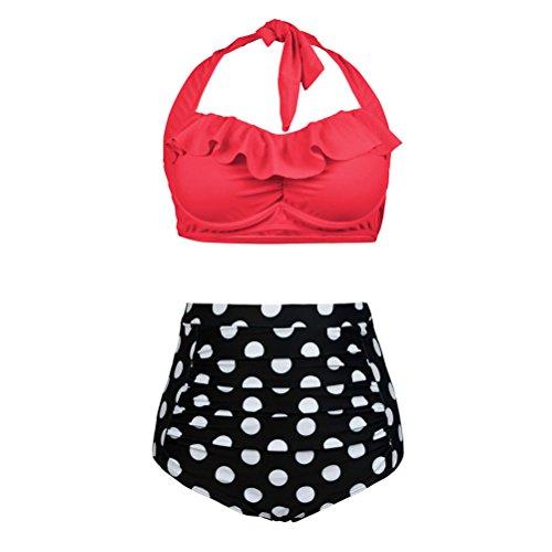 - Womens Plus Size Swimwear Flounce Padded High Waisted Swimsuit Bikini Polka Dot