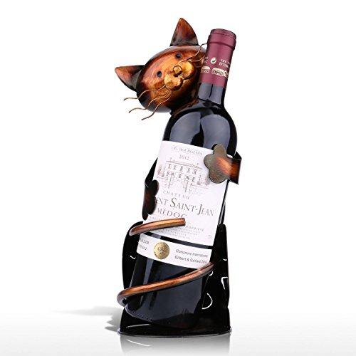 Tooart Porta Botellas De Vino, En Forma De Gato Titular De Vino Estante De Vino Escultura De Metal Práctica Escultura Decoración del Hogar Artesaní