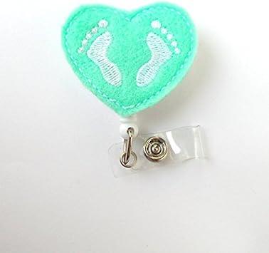 White RN Badge Reel Pink /& Blue Baby Feet Retractable Nurse Badge Holder NICU