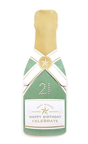 21 Boston Bottle (my design co Champagne Cracker Card, Happy Birthday 21 (MDC16972))