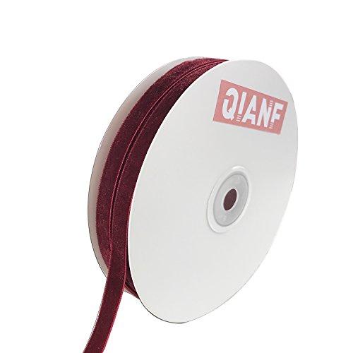 QIANF Vintage Burgundy Velvet Ribbon, 3/8