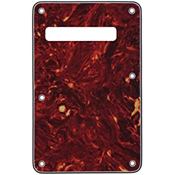 IKN Guitar Back Plate Tremolo Cavity Cover Electric Guitar BackPlate for Fender Strat Guitar Replacement, 4Ply Red Tortoise Shell