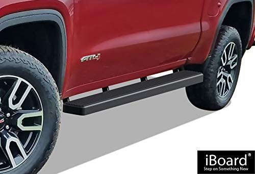 APS iBoard Running Boards (Nerf Bars | Side Steps | Step Bars) for 2019-2020 Chevy Silverado GMC Sierra 1500 Crew Cab | (Black Powder Coated 5 inches)