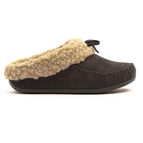 FitFlop Womens The Cuddler Snugmoc Charcoal Clog - 9