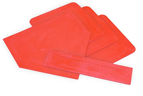 Champion Sports Throwdown Base Set: 5 Youth League Kids Baseball & Softball Rubber Throw Down Bases - Boys & Girls Training & Practice Equipment -