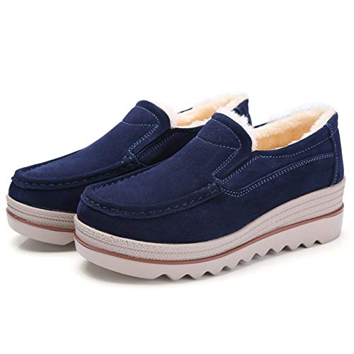 Plus Top Loafers Suede Platform Women Eagsouni Velvet Heel Toe Wide Wedge Blue Low On Mid Shoes Moccasins Slip Casual SnaWRzWp