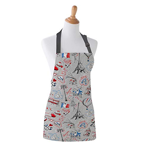 Family Decor Kids Bib Apron, Stain Resistant Kitchen, Classroom, Crafts and Art Painting Aprons for Children Boys Girls, Hand-Painted Love France Paris Eiffel Tower