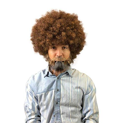 80's Painter Afro Wig with Full Beard and Mustache Set, -