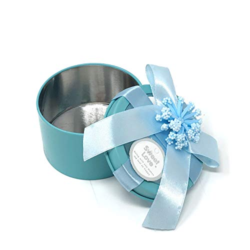 (Allgala 12-PK Party Favor Container Round Tin Box - Wedding Baby Shower Birthday - Turquoise with Flower Bow Decoration - PF83117 (Turquoise))