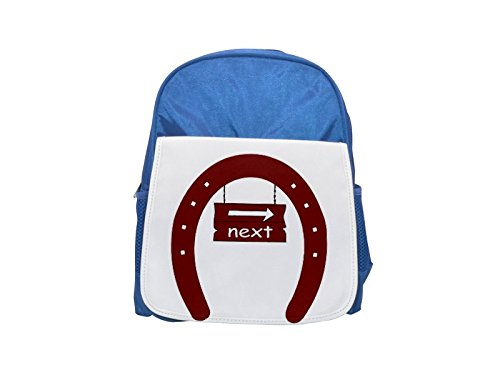 The image of a signboard with the word next in a horseshoe . I used OCAL clipart called Fer A Cheval uploaded by jdaniel . Thanks. printed kid's blue backpack, Cute backpacks, cute small backpacks, cu