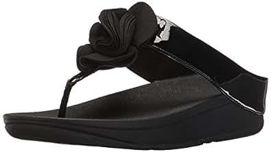 FitFlop Womens Womens Florrie Toe-Thong Sandal Black Size: 5 US / 5 AU