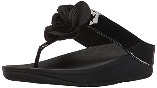 FitFlop Womens Florrie Toe-Thong Sandal, Black Patent, 5 M ()