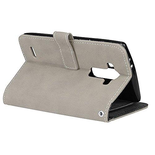 Housse LG Cover Rétro Portefeuille Coquille emplacements G4 Housse de Sy G4 Coque Cuir Folio Wallet LG Fermeture Protection Cuir en pour cartes Étui en cuir 9 Magnétique Couverture PU gris BONROY Coque wYxtU4O