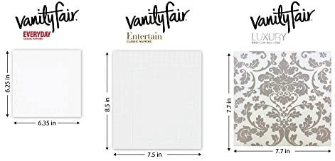 Vanity Fair Entertain Paper Napkins, Dinner Size, Classic White, 320 Count