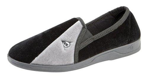 Dunlop - Pantofole elasticizzate modello Winston con tasselli gusset, Multicolore (Black/Grey), 47 (13 UK)