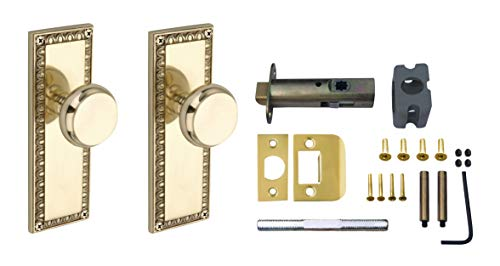 Knoxx Hardware Colonial Passage Plate with Crystal Knob, Antique Brass
