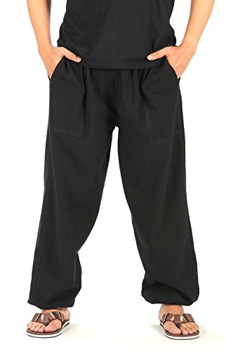 CandyHusky's Cotton Men Womens Sport Running Fitness Yoga Pants Elastic Waist (Black)