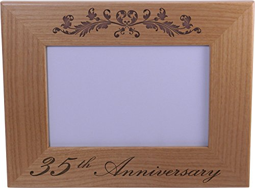 35th Anniversary - 4x6 Inch Wood Picture Frame - Great Anniversary gift for friends, parents and family