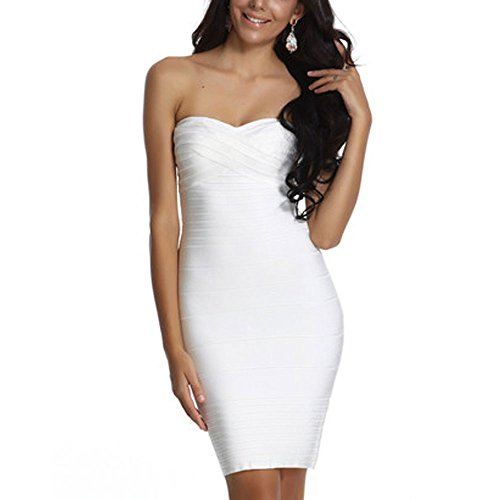 Hlbandage Dress Women's Strapless Sexy Bandage Bodycon Bianco Mini w7RCSqw