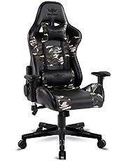 Spirit Of Gamer - Krzesło gamingowe Demon Army Edition - fotel dla graczy Similicuir wojskowa krata - regulowane podłokietniki 2D - (maksymalna pojemność 100 kg) - poduszki na szyję i lędźwiowe są zapewnione