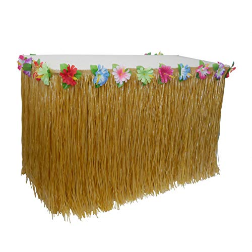 AniiKiss Table Grass Skirt for Hawaiian Hula Luau Party Decoration Table Decor Supplies (Festucine, 9 ft) Artificial Grass Table Skirt