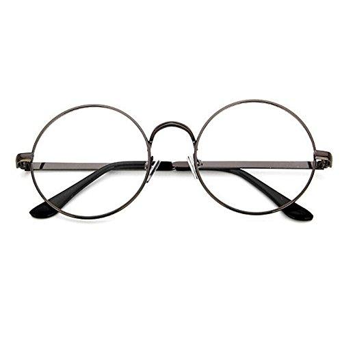 TININNA Unisexe Rétro Rondes Metalique Cadre Frame Lunettes Vintage Verres Transparent Style Aviateur Pilote Eyeglasses pour Homme et Femme Adultes - Argent - Taille unique 4G9aUIF93