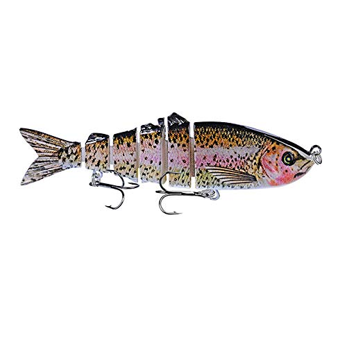 DOITPE Fishing Lures Bass Lures, Topwater Lifelike Multi Jointed Trout Artificial Hard Baits Swimbait CrankBaits Fish Tackle Kits in Freshwater and Saltwater (D)