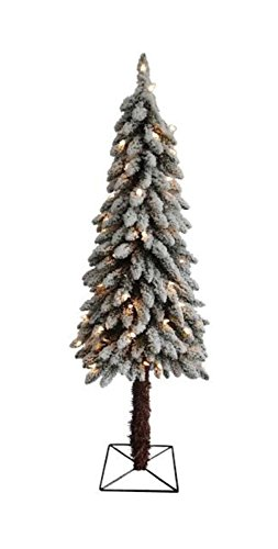 4' Pre-Lit Flocked Alpine Artificial Christmas Tree - Cle...
