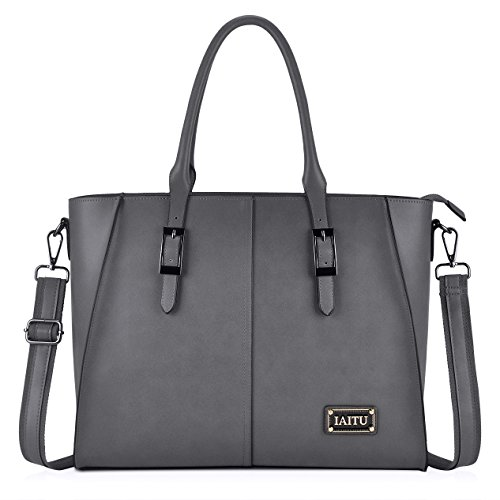 Capacity Bag - IAITU Laptop Bag, Large Capacity Women Tote Bag Briefcase with Padded Compartment for 15.6 Inch Tablet/MacBook/Ultra-Book (Gray)