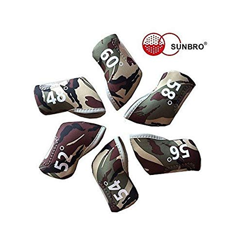 (Sunbro Golf 6Pcs Wedge Golf Head Covers Neoprene Case for 48-60 Degree Double-Sided Printing Classic Camouflage)