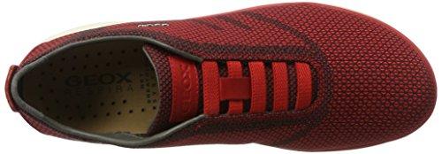 Geox U Nebula B, Scarpe da Ginnastica Basse Uomo Rosso (Black/Redc0048)