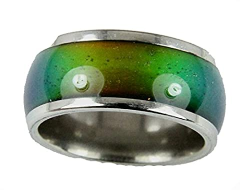 10mm Solid Heavy Gauge Stainless Steel Comfort Fit Mood Ring Band 70's Style Not Cheap Very Good Quality (Mood Rings Size)