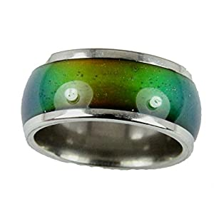 Mood Rings 10mm Solid Heavy Gauge Stainless Steel Comfort Fit Band 70's Style Not Very